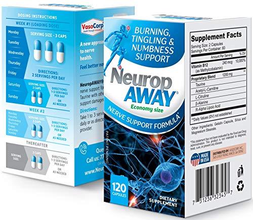 VasoCorp NeuropAWAY Neurop Pain Relief   120 Capsules Nerve Pain Relief and neurop Pain Relief for feet, neurop Support for Burning Numbness Pain in Legs and feet Vitamin Supplement