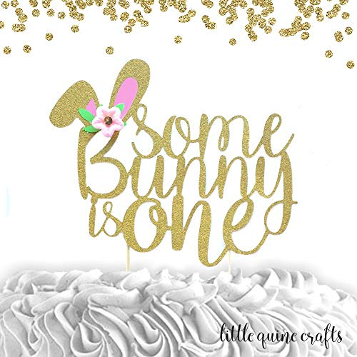 Amazon Com 1 Pc Some Bunny Is One Flowers Gold Glitter Cake Topper For First Birthday Baby Girl Bunny Theme Handmade