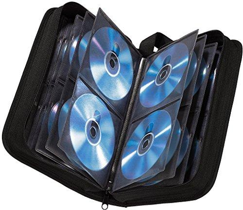 Hama CD Tasche für 80 Discs / CD / DVD / Blu-ray (Mappe zur Aufbewahrung , platzsparend für Auto und Zuhause, Transport-Hüllen) Schwarz