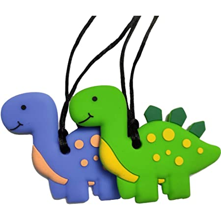 Sensory Chew Necklace - Dinosaur Chewable Silicone Pendant for Teething, Autism, Biting, ADHD, SPD, Oral Motor Aids Stegosaur