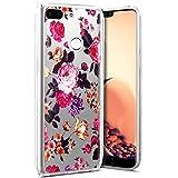Coque Huawei Honor 9 Lite,Etui Housse Huawei Honor 9 Lite TRANSPARENTE SOUPLE SILICONE TPU étui de Protection,Surakey Ultra Fine Léger Coque Housse Étui pour Huawei Honor 9 Lite (Fleur Rouges)