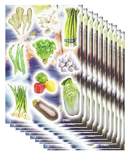 Ekonomiczny zestaw 10 arkuszy warzyw szparagów fasola papryka bakłażana rzodkiewka naklejka 100-częściowy 270 mm x 180 mm naklejki do majsterkowania, dla dzieci