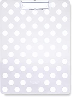 Kate Spade New York Acrylic Clipboard with Low Profile Clip, Cute Plastic Clipboard Holds Letter Size Paper, Jumbo White Dot