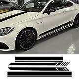 vitesurz Auto Pegatinas de Calcomanías Body Stripe Lateral, para Mercedes Benz C63 Coupe W205 Vinilo de Fibra de Carbono AMG C200 C43 C250 |, Calcomanía de Techo de Campana de Falda Lateral