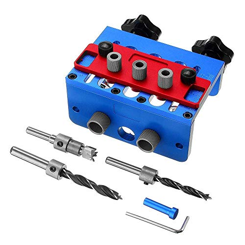 WXQ-XQ Woodworking 3 In 1 Drill Guide Set Hole Puncher Dowelling Jig Self Tighen Clamp Dowel Tenon Punching Woodworking Tools