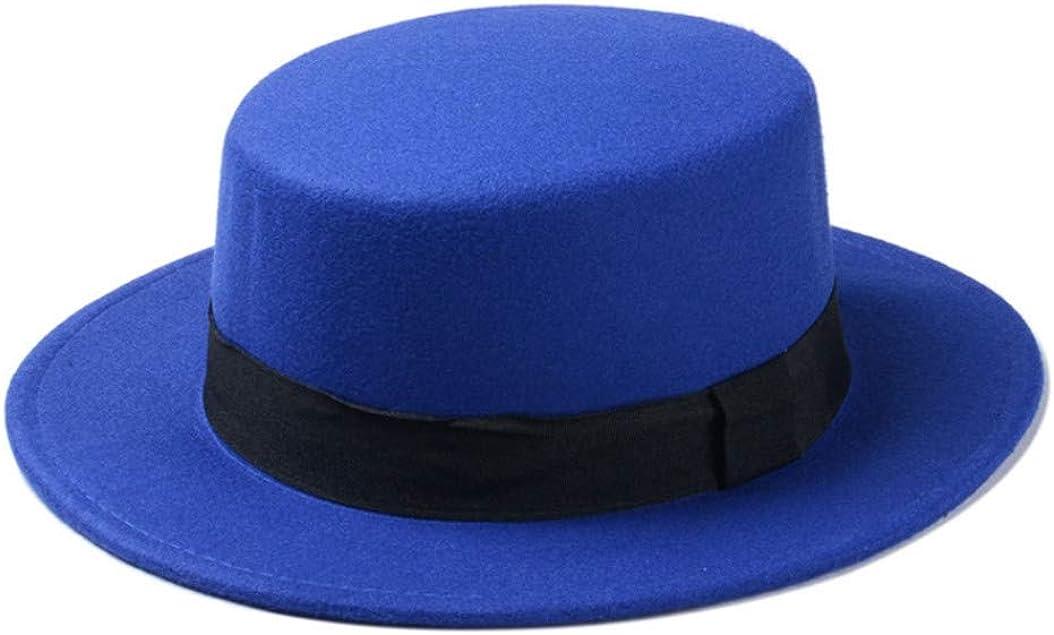 Wool Boater Flat Top Hat for Women's Felt Wide Brim Fedora Hat Ladies Top Hat Trilby Gangster Bucket Hat
