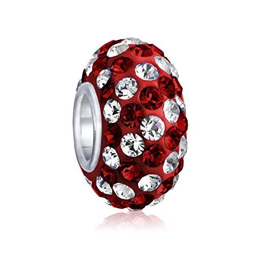 Dunkel Rot Weiß Urlaub Streifen- Kristall Spacer Perle Core Sterling Silber Passt Europäischen Charm Armband Für Frauen Für Teen