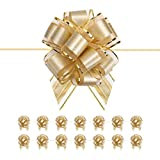 PACKQUEEN 15 Large Gold Gift Bows, 6 inches, Ribbon Pull Bows for Gift Wrapping, Gift Wrap Bows for Decorating Presents