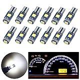Nanpoku T5 LED Bulbs 74 73 37 2721 LED Bulb Canbus Error Free for Auto Car Dashboard Dash Instrument Panel Gauge Cluster Indicator Lights Lamp(White)