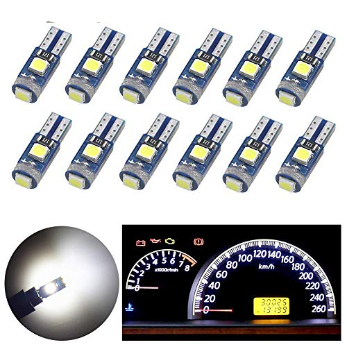 Nanpoku Super Bright 12X T5 74 73 37 2721 LED Bulb Canbus Error Free for Dashboard Instrument Panel Gauge Cluster Indicator Lights(White)