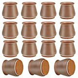 32 Pack Silicone Chair Leg Protectors, Brown Silicone Chair Leg Covers, Chair Leg Caps for Hardwood Floors, Prevent Scratches and Noise