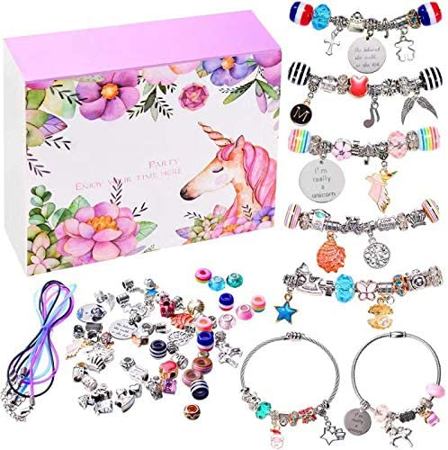 monochef DIY Charm Bracelet Making Kit, Jewelry Making Supplies Bead Snake Chain Jewelry Gift Set for Girls Teens