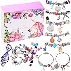 DIY your Bracelet - Charms Craft Supplies are great jewelry findings for your clip-on charms, dangle, earrings, bracelet, necklace pendants, keychain, anklet. Includes beautiful unicorns, shells, pearls, meteors, tree of life, angel wings, crosses, S...