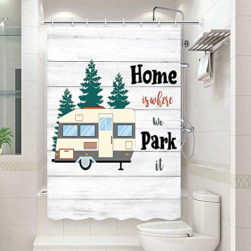 DYNH RV Shower Curtain, RV Shower Curtain for Camping Trailer Rustic Farmhouse Wood Trailer Shower Curtain Sets, Camping Trailer Shower Curtain Set, Hooks Included, 47X64 in