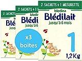 Blédina Blédilait 1ème âge - Lait pour Nourrissons en Poudre, dès la Naissance et jusqu'aux 6 mois de bébé - Pack de 3 Boîtes de 1,2 Kg