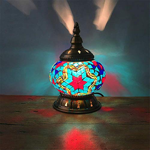 Cup Mosaic Lamps Bed Side Table Lamp Handmade Coloful Glass Lampshade Morocco lamp Coloful Wedding Deco Desk lamp,Gray,US Plug