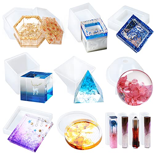 Resin Molds Silicone Kit 12Pcs - Silicone Molds for Epoxy Resin Casting Including Coaster, Ashtray, Jewelry Box Molds & Sphere, Cube, Pyramid, Cylinder Molds - Resin Kit for Beginners
