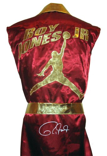 Roy Jones Jr Signed Burgundy Jordan Logo Robe - Autographed Boxing Robes and Trunks