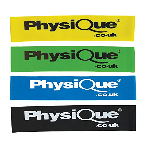 PHYSIQUE - Mini Bands - Skin Friendly Sports Resistance Bands Set of 4 Elastic Loops With 4 Resistance Levels - Free Carrying Case Included - Ideal for Home Fitness, Strength Exercise, Gym, Yoga