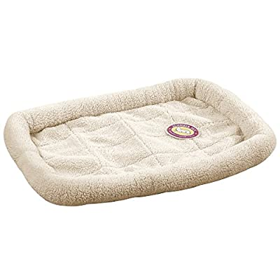 Slumber Pet Sherpa Crate Beds - Comfortable Bumper-Style Beds for Dogs and Cats, Medium, Natural Beige