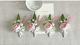 Yokoke Artificial Peony Silk Flower Boutonniere Bouquet Corsage Wristlet Vintage Fake Succulent Flocked Plants Pink Lavender For Wedding Decor 4 Pcs (corsage)