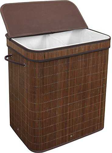 Greenco Bamboo Foldable Double Hamper, Flip-top Lid, Side Rope Carrying Handles and Inner Liner with Divider- Espresso