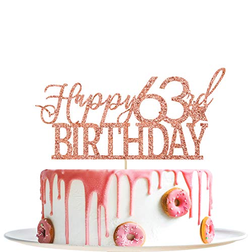 Rose Gold Glitter Happy 63rd Birthday Cake Topper - Hello 63 - Cheers to 63 Years Party Decoration