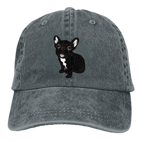Unisex Baseball Dad Hat Cotton Denim Cute Brindle Frenchie Puppy Adjustable Caps Deep Heather