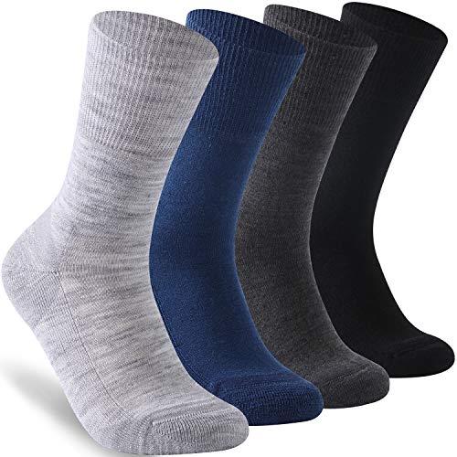 Facool Mens Womens Non-Binding Socks, Merino Wool Extra-Wide Ankle Diabetic Socks with Seamless Toe Cushion Sole Diabetes Socks 3 Pairs X-Large Dark Grey
