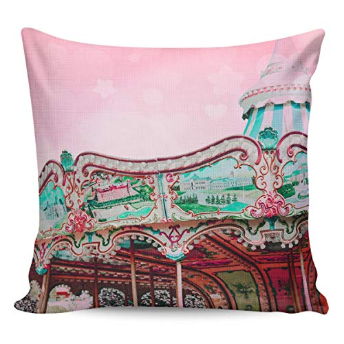 SunShine Day Cotton Linen Throw Pillow Covers 20'' x 20'', Carousel Close-up Square Cushion Case Pillowcase, Home Decor for Sofa Couch Bed Chair Dream Pink