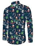 Idgreatim Herren Xmas Hemd Drucken Flamingo Langarm Weihnachten Button Down Fashion Aloha Urlaub Hiking Wear Männer Xmas Hemd
