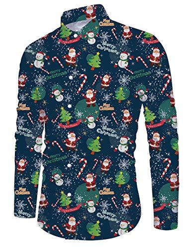 Idgreatim Männer Ugly Christmas Shirt Drucken Flamingo Langarm Weihnachten Button Down Party Wear Man Xmas Hemd Rot