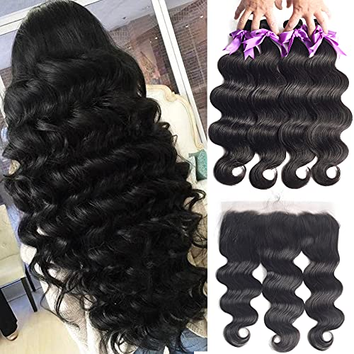 4 Bundles with Frontal 20 22 24 26+18 Inch Free Part 10A Brazilian Body Wave Hair Bundles with 13x4 Ear to Ear Virgin Hair Bundle Deals Unprocessed Remy Human Hair Weaves Extensions