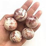 KDHJY Bola 1PC 31-33MM Natural de Cuarzo Piedra de Carne de Cerdo de Piedra de la Esfera de la Bola Cristales Tocino de Piedra del Regalo de Cuarzo Natural Decorativa (Size : 2PC)