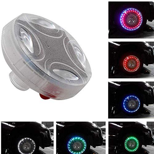 Riloer 4 Luces Flash para Llantas, Luces Solares LED Coloridas para Llantas, Tapa de Válvula para Llantas, Lámpara Estroboscópica, Kit Impermeable, Cuatro Modos