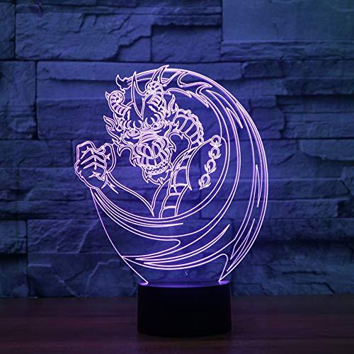Kreative Usb 3D Leucht Cartoon Drachen Tischlampe Led Nachtlicht Wohnkultur 7 Farben Ändern Tier Lumina Kinder Urlaub Geschenke