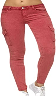 Women High Waist Jeans Cargo Pants Casual Slim Fit Pants with Pockets