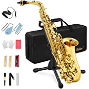 Eastar Alto Saxophone E Flat Student Sax Gold Lacquer With Carrying Case Mouthpiece Strap Reeds Stand Cork Grease(AS-Ⅱ)