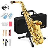 Eastar AS-Ⅱ Student Alto Saxophone E Flat Gold Lacquer Alto Beginner Sax Full Kit With Carrying Sax Case Mouthpiece Straps Reeds Stand Cork Grease