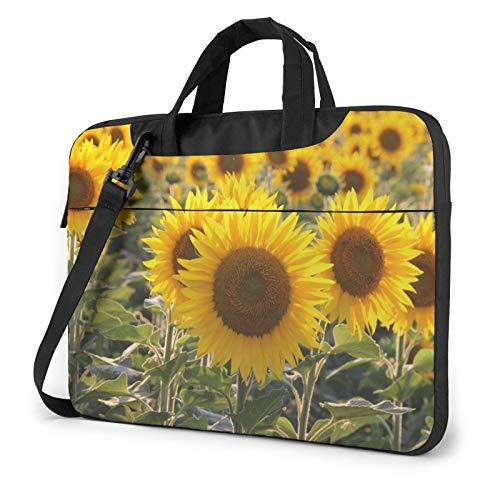 Laptop Shoulder Bag - Yellow Sunflower Floral Printed Shockproof Waterproof Laptop Shoulder Backpack Bag Briefcase 14 Inch