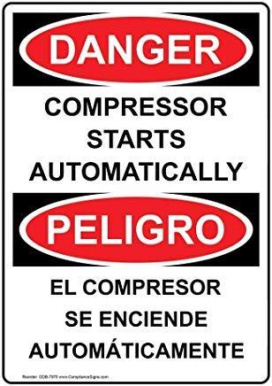 wendana Verticale OSHA DANGER Compressor start automatisch tweetalig teken, grappige wensborden, poortteken, vandaar Yard Sign,8