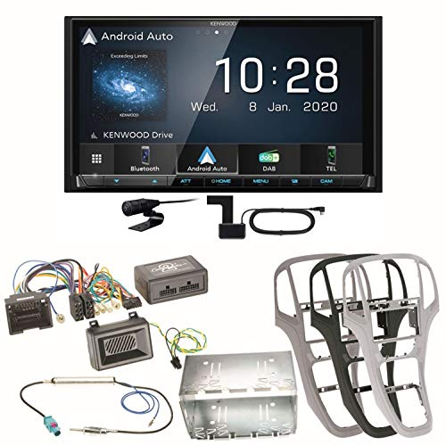 Kenwood DMX-7520DABS Carplay Android Auto Digitalradio USB Bluetooth DAB+ Moniceiver Einbauset kompatibel mit Opel Astra J, Farbe der Radioblende:Platin-Silber