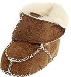Playshoes Zapatillas de Lana para Recién Nacidos Gancho y Bucle, Zapatos para Gatear Unisex bebé, Marrón (Hellbraun 108), 18/19 EU