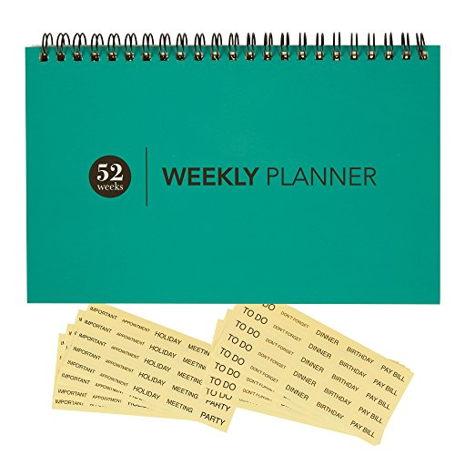 Blank Weekly Calendar Planner - For Home & Office - Undated Wire Bound Desk Pad Planner - 52 Weeks - Teal Blue - Includes Clear Reminder Stickers - 8 x 5 inches
