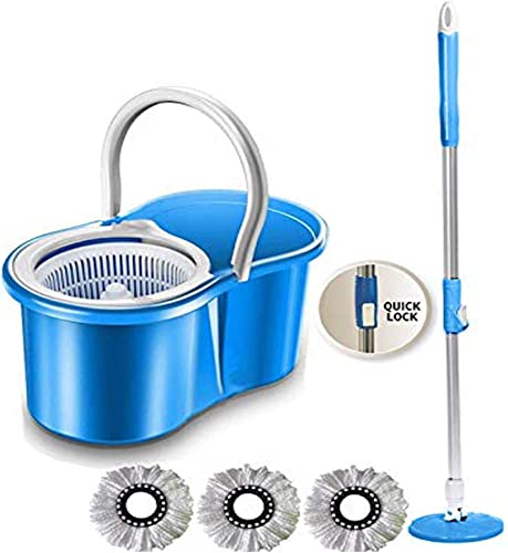 GTC 360 Degree Spin Floor Cleaning Easy Bucket PVC Mop With 3 Microfiber Heads Assorted