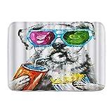 DAOPUDA Antideslizante Alfombra de baño,Funny Dog Set Animal Pet Theme Gafas de Sol Coloridas,Altamente Absorbente Alfombrilla de Piso para Dormitorio Baño Salon