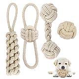 Juguetes de Cuerda para Perros, 4 Piezas Juego de Juguetes para Perros Cachorros, Juguete Masticable para Perros Indestructible, Pelota con Cuerda para Perros Pequeños/ Mediano, Blanco