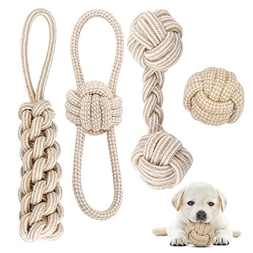 Hundespielzeug Seil mit Knoten Ball, 4 Stück Kauen Hundespielzeug Set für Kleine Hunde/ Mittlere, Welpen Spielzeug für Hunde Zahnpflege, aus Natürlicher Baumwolle (Weiß)