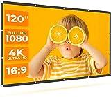 DLF Pantalla de proyección, 120 Pulgadas, 4K HD, 16: 9, Pantalla Plegable película de Anti-Arrugas, Adecuado for Cine en casa, los Soportes Delanteros y Traseros de proyección