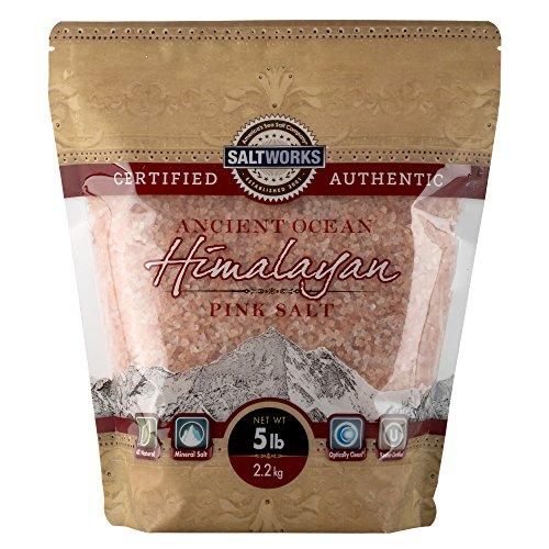 SaltWorks Ancient Ocean Himalayan Pink Salt, Medium Grain, 5 Pound Bulk Bag
